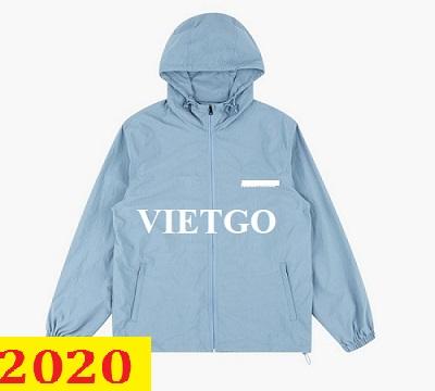 Cơ hội giao thương (Gấp) – Đơn hàng thường xuyên - Cơ hội xuất khẩu bộ quần áo Jacket thể thao nam đến thị trường Mỹ
