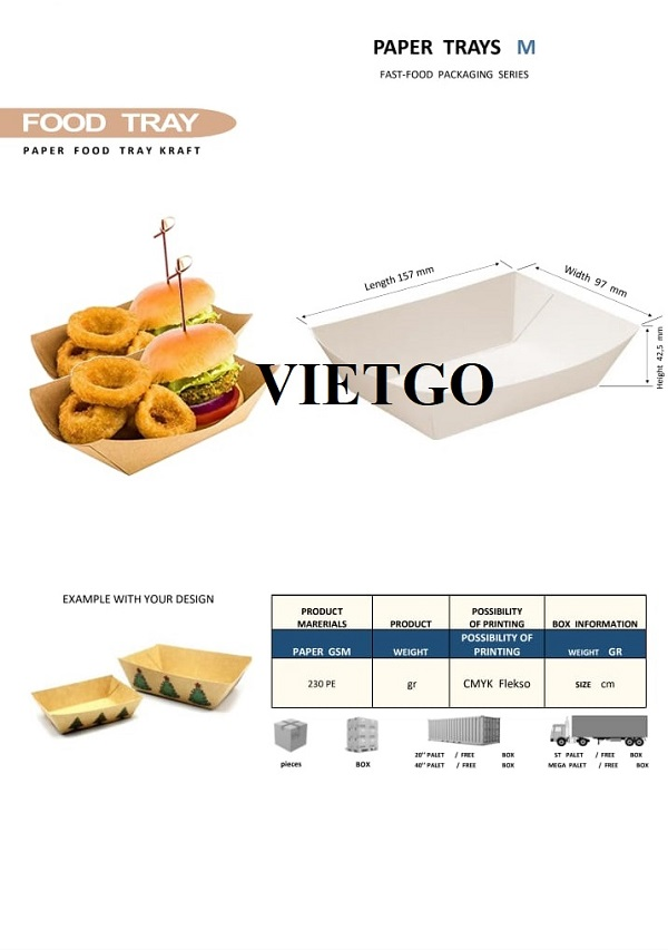 Opportunity to export paper trays for fast food to the Israeli market